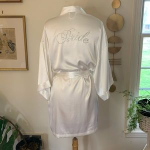 "Victoria's Secret white satin ""Bride"" robe"